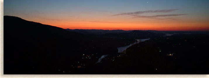 Sunrise from Chimney Rock over Lake Lure
