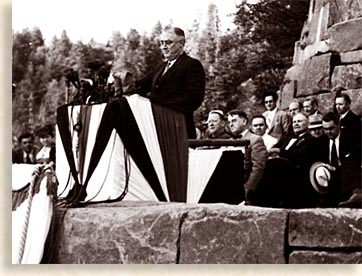 Franklin D. Roosevelt Dedicating the Rockefeller Memorial at Newfound Gap