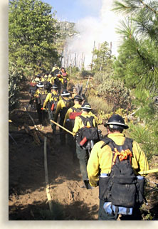 Firefighters in the mountains