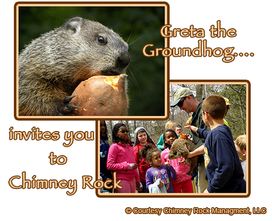 Greta the Groundhog at Chimney Rock