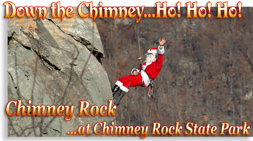 Chimney Rock Santa on the Chimney