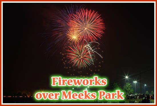 Fireworks over Meeks Park in Blairsville GA