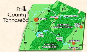 Map of Polk County Tennessee