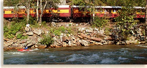 Great Smoky Mountain Railroad on the Nantahala River