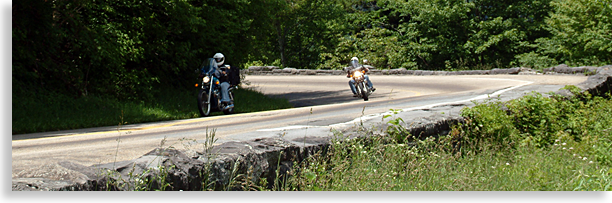 Motorcycles on Newfound Gap in the Smoky Mountains