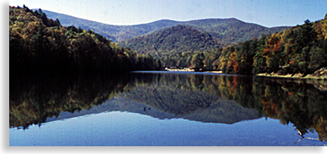Lake Trahlyta in Vogel State Park in the North Georgia Mountains